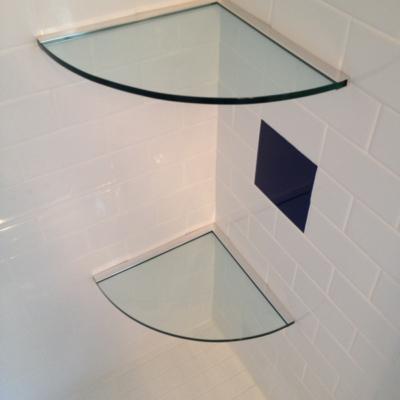 Residential Glass - Bathroom glass shelves using channel