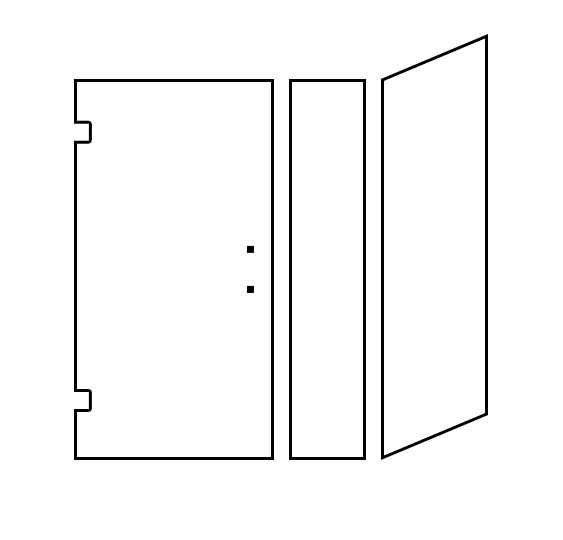 Shower Door Design Tool - Corner Door/Panel with Return Hinged Left