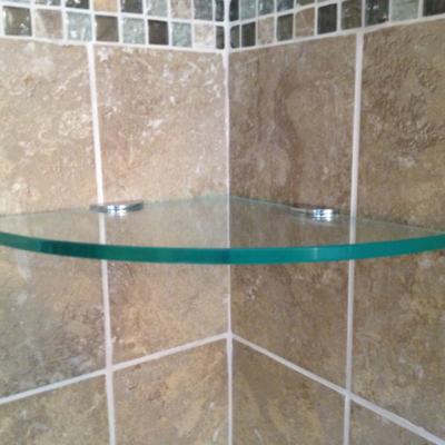 Residential Glass - Bathroom glass shelves using clips
