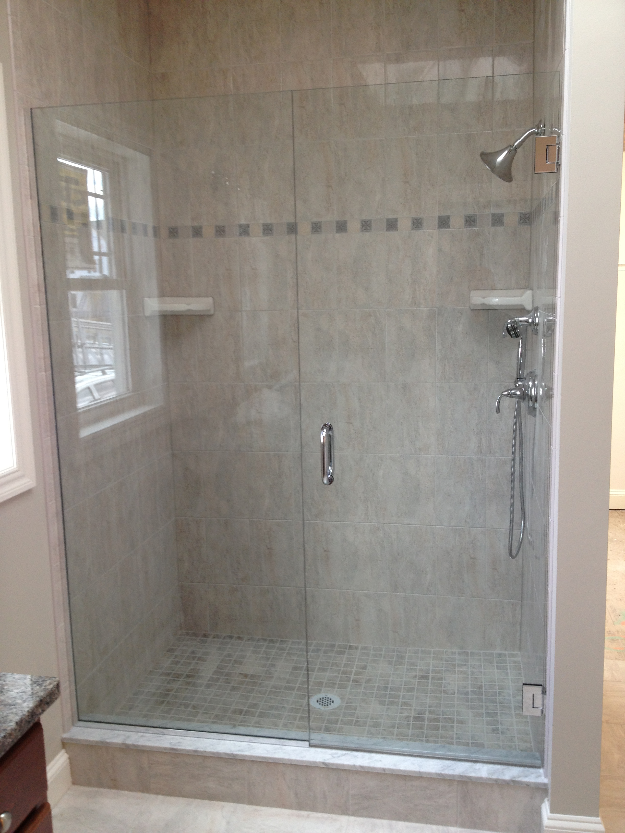 Glass shower door gallery franklin glass company Shower glass panel