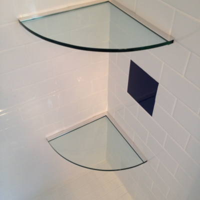 Residential Glass - Bathroom glass shelves using channel