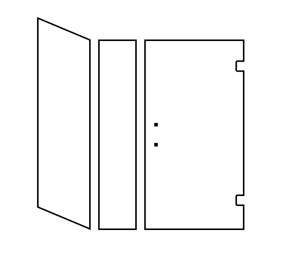Shower Door Design Tool - Corner Door/Panel with Return Hinged Right