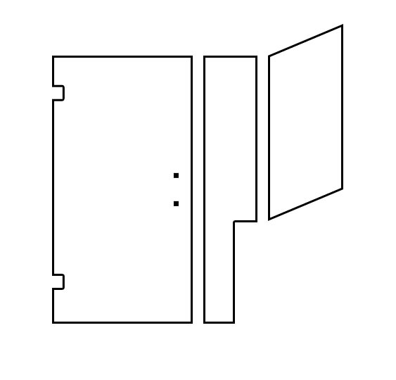 Shower Door Design Tool - Door/Panel with Notched Return Hinged Left